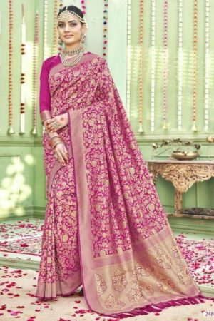 Buy Triveni Presents Shehzadi Rich Fabrics of Silk Blend With Heavy Golden Threadwork All Over The Saree 24803