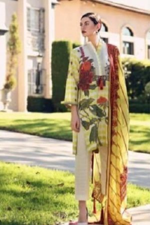 Charizma Presents Lawn Karandi Spring 19 Self Embroidered karandi Lawn Suit 05