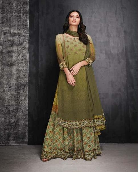 Ganga Abilene Pure Bemberg Georgette Print and Sarvoski Work Suit 6917