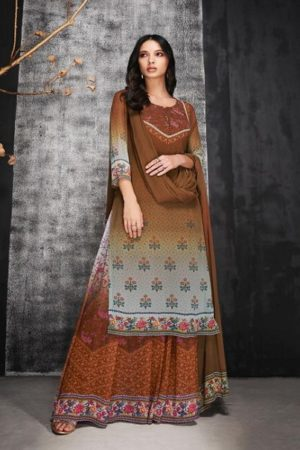Ganga Abilene Pure Bemberg Georgette Print and Sarvoski Work Suit 6921