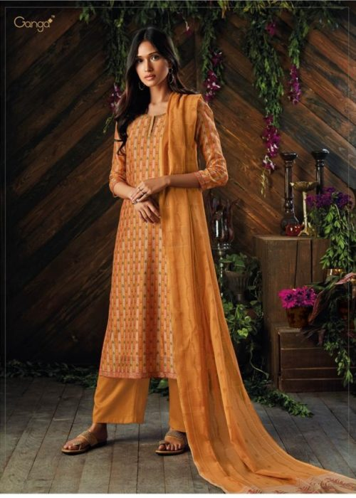 Ganga Asra Pure Kora Silk Printed With Finest Embroidery Suit 6925