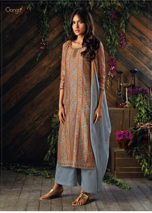 Ganga Asra Pure Kora Silk Printed With Finest Embroidery Suit 6929