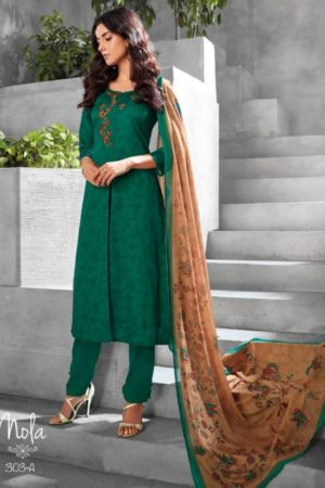 Ganga Reyna Nofa Cotton Satin Print With Neck Embroidery Suits 303A