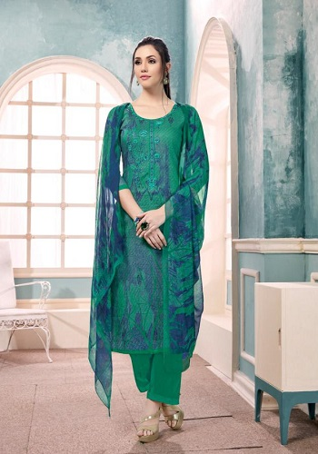 Kapil Fab Presents Falaq Cotton Satin print with self embrodiery suits 48007