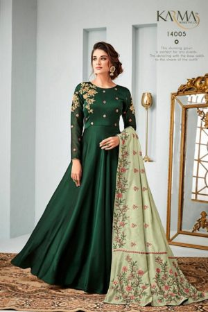 Karma Vol 14 Satin Georgette With Embroidery Gowns 14005