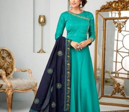 Buy Karma Vol 14 Satin Georgette With Embroidery Gown 14007