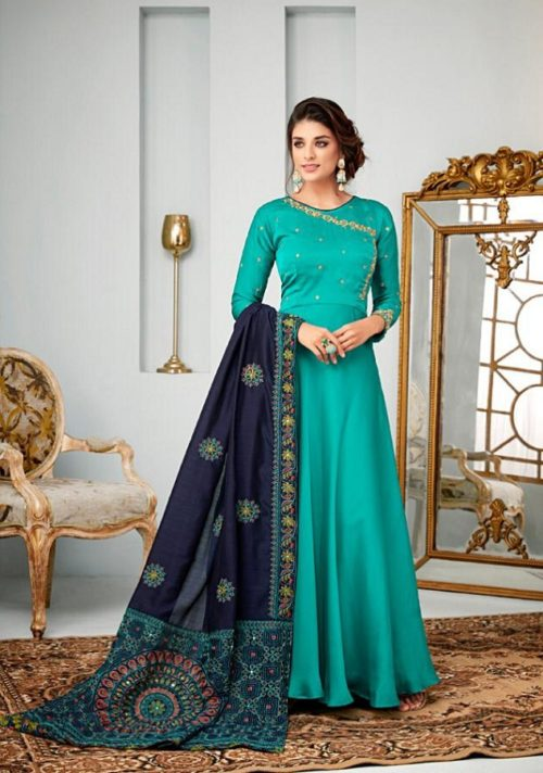 Karma Vol 14 Satin Georgette With Embroidery Gowns 14007