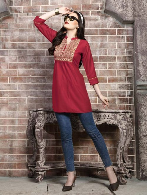 Kersom Heer Krisha Vol 2 Rayon with Work Short Top 1004
