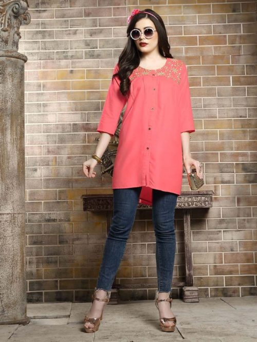 Kersom Heer Krisha Vol 2 Rayon with Work Short Tops 1007