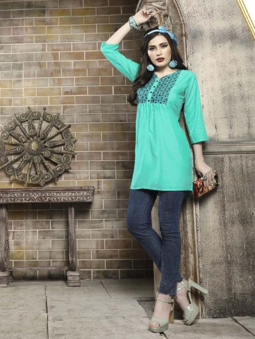 Kersom Heer Krisha Vol 2 Rayon with Work Short Tops 1009