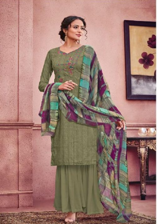 Kesari Trendz Alisa 3 Jam Silk Cotton With Self Embroidery Suits 1025
