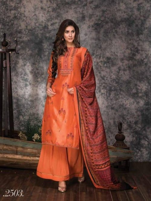 Naariti Shikara Russian Silk With Embroidery Salwar Suits 2503