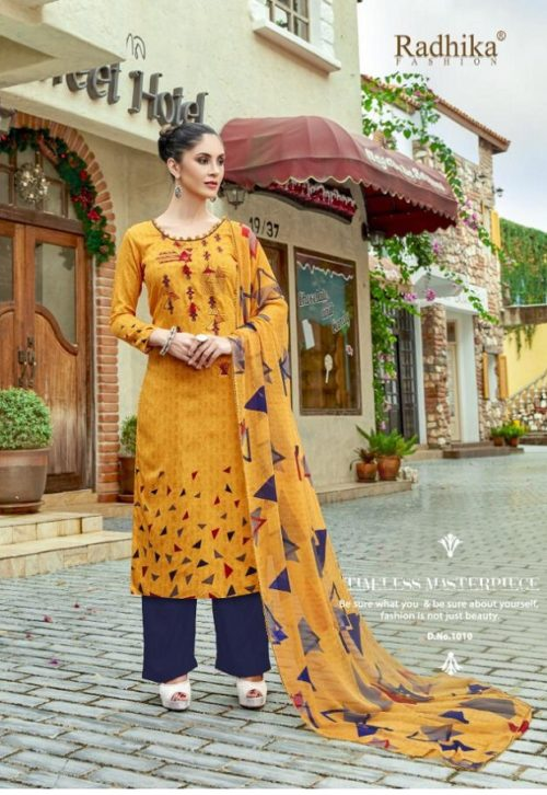 Radhika presents Azara Elee Pure Glass Cotton Print With Self Embroidery Suits 1010