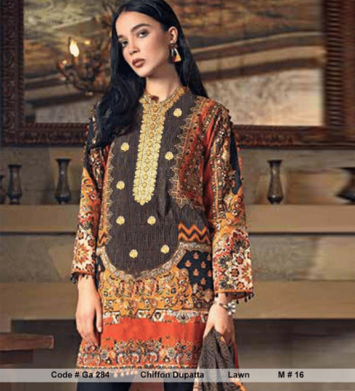 Regalia presents Lawn Summer collectionLawn With Lawan Embroidery Suit Ga 284