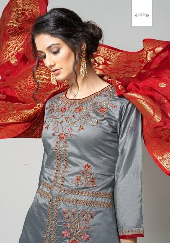 Rvee Gold Presents Miraya Pure Chanderi Slik With Embroidery & Hand Work Suits 345