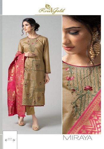 Rvee Gold Presents Miraya Pure Chanderi Slik With Embroidery & Hand Work Suits 347