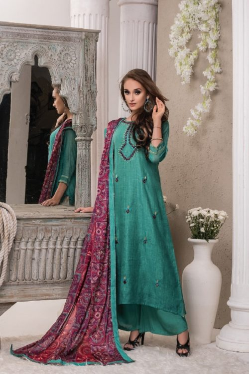 SRI Jhankar Fine Munga With Embroidery Semi Stitch Salwar Suit 778