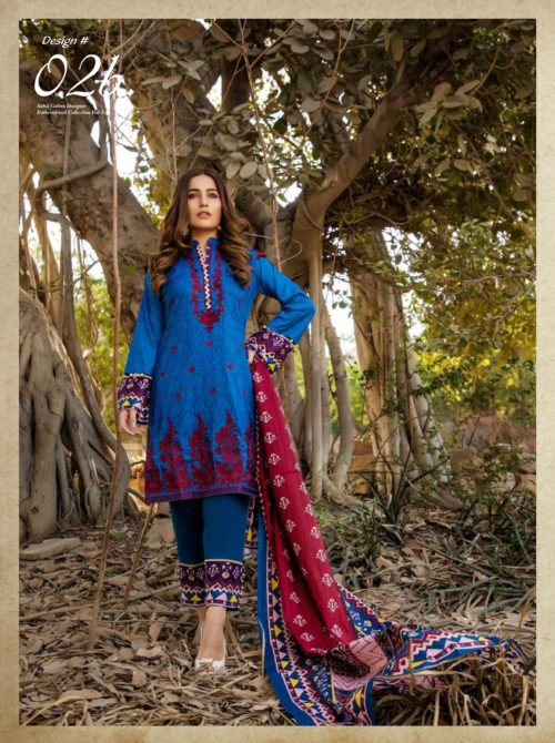 Sahil Embroidered vol 3 Pakistani Cotton Lawn With Embroidery Suits 02b