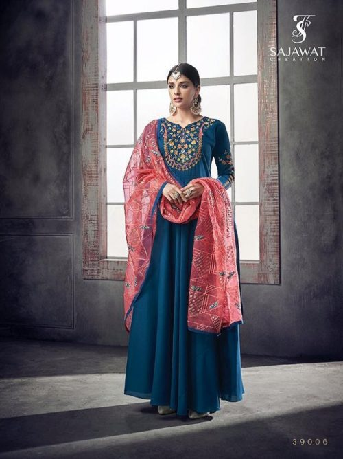 Sajawat Creation Bride Vol 2 Heavy pure Muslin Gown With Organza Dupatta 39006