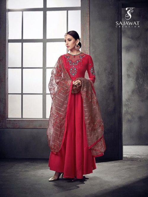 Sajawat Creation Bride Vol 2 Heavy pure Muslin Gown With Organza Dupatta 39010