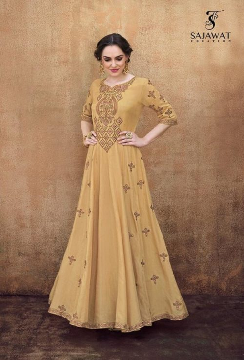 Sajawat Creation Rangriti Heavy 14kg Rayon Gold Gowns 42031