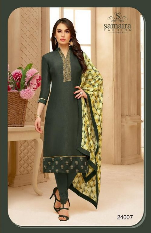 Samaira Fashion Presents Fida Vol 2 Silk with Embroidery Work Suits 24007