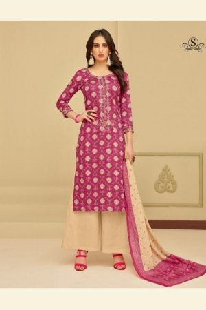 Samaira Selinaa Heavy Chanderi Print With Work Suits 23006