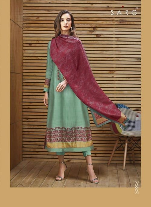 Sarg Modern Tribal Pure Tussar Digital Print With Embroidery Suits 590
