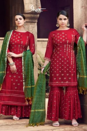 Shai Noor Tussar Silk With Heavy Embroidery & Handwork Suits 1746