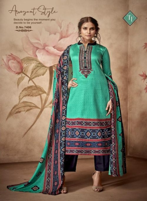 Tanishk Fashion Kashmiri Pure Jam Silk Embroidery Work Suits 7406