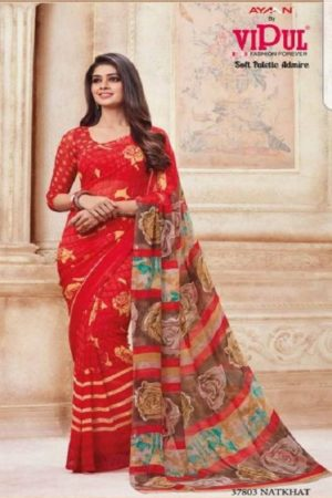 Vipul Soft Palette Admire Georgette Printed Designer Saree With Blouse 37803