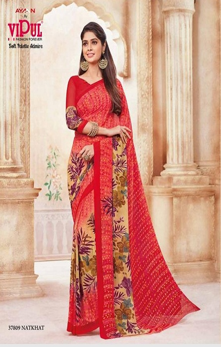 Vipul Soft Palette Admire Georgette Printed Designer Saree With Blouse 37809