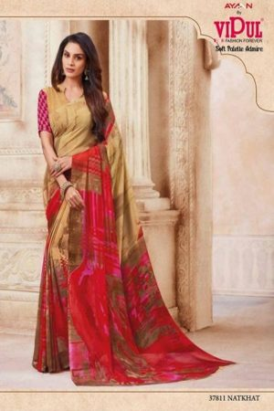 Vipul Soft Palette Admire Georgette Printed Designer Saree With Blouse 37811