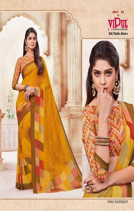 Vipul Soft Palette Admire Georgette Printed Designer Saree With Blouse 37813