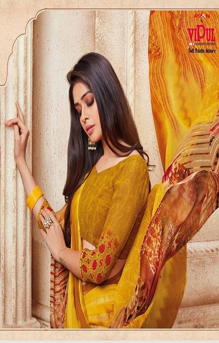 Vipul Soft Palette Admire Georgette Printed Designer Sarees With Blouse 37818