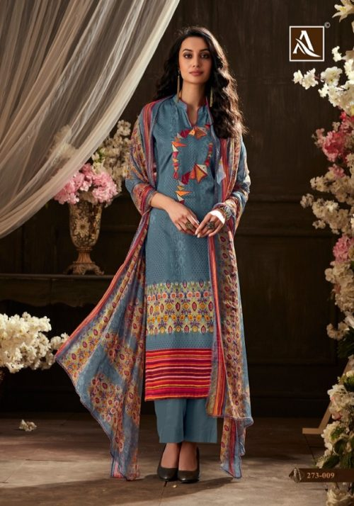 Alok Sargun Pure Zam Cotton Digital Style Designer Print with Exclusive Embroidery Suits 273 009