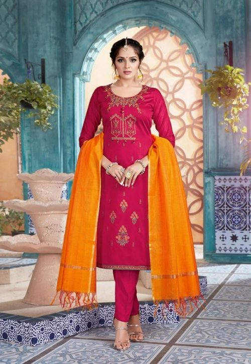 Belliza Designer Studio Vintage Jam Silk With Embroidery Suit 201-001