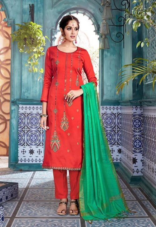 Belliza Designer Studio Vintage Jam Silk With Embroidery Suit 201-007