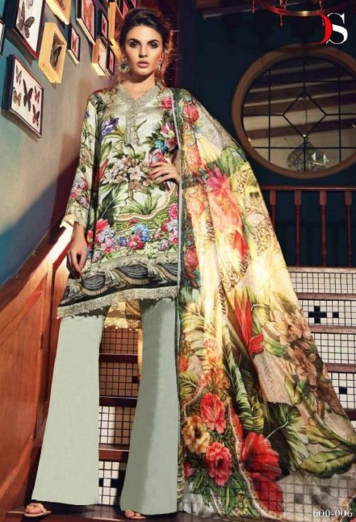 Deepsy Elan Silk 5 Pure Japan Silk Digital Print With Embroidery Suits 600-006