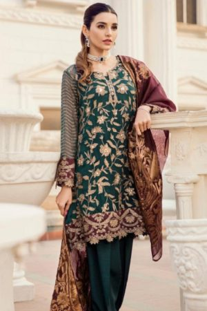 Deepsy Maria B-3 Georgette With Heavy Embroidered Suits 600-404