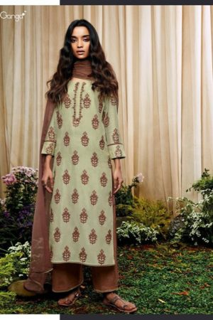 Ganga Presents Amoret pure Bemberg Silk printed with Embroidery Suits 7136
