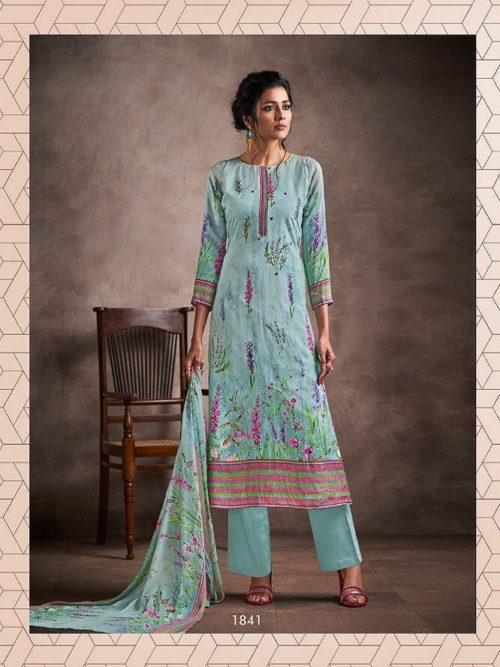 Haya Presents Ivana -2 Pure silk cotton Digital Print Handwork With pure Modal Digital Print with Work Suit 1841
