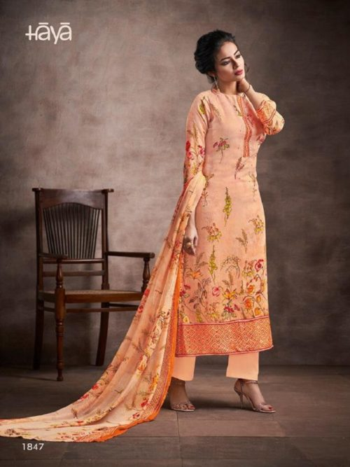 Haya Presents evana -2 Pure silk cotton Digital Print Handwork With pure Modal Digital Print with Work Suit 1847
