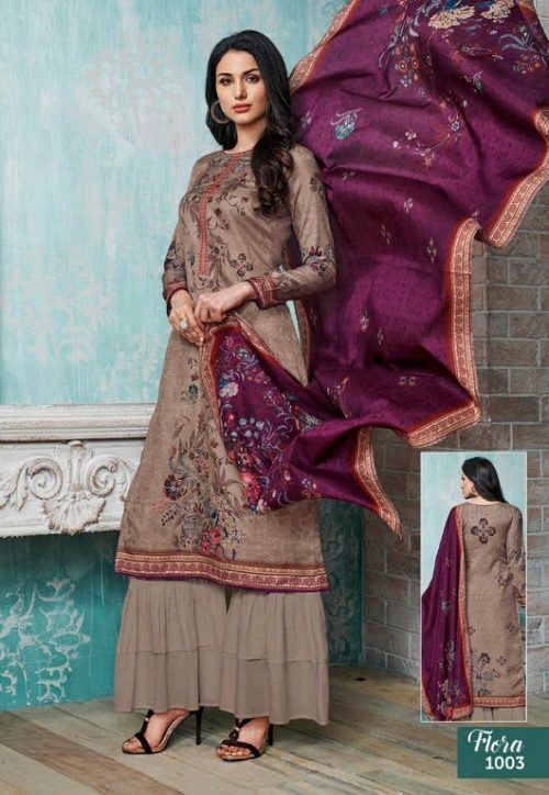 Kalakriti Flora Tussar Silk Digital Printed With Hand Work Suits 1003