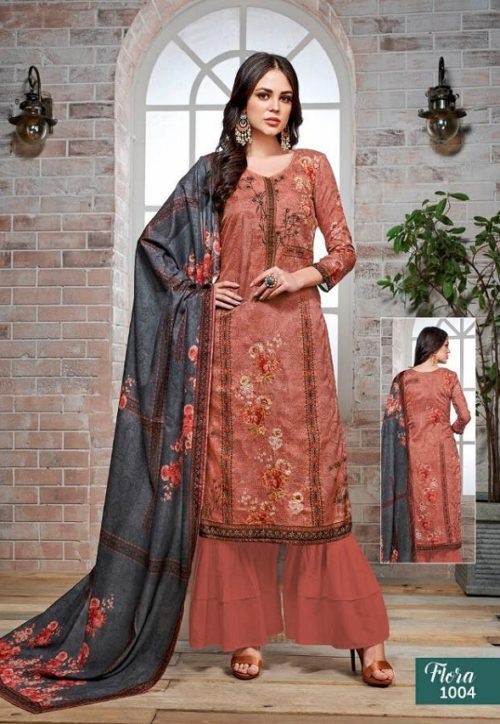 Kalakriti Flora Tussar Silk Digital Printed With Hand Work Suits 1004