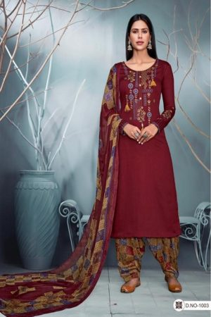 Kesar Karachi Kazo Pure Jam Satin With Embroidery Suits 1003