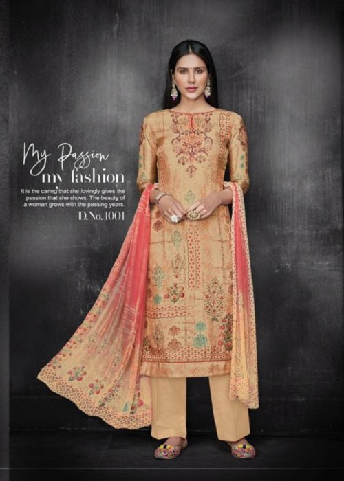 Kesar Karachi Krisha Pure Upada Silk Digital Print Suits 1001