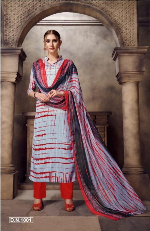 Kesar Presents Nazarana Semi jam cotton Digital style Print Suit 1001