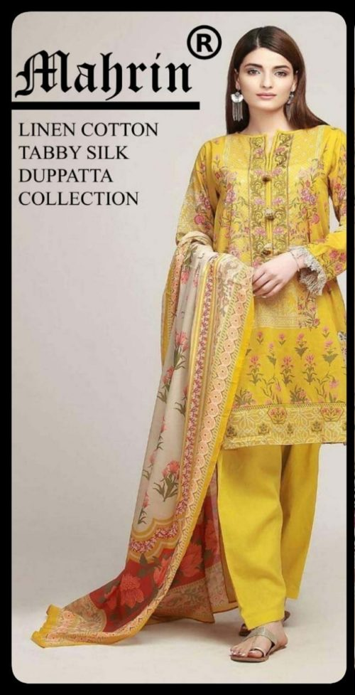 Mahrin Presents Maharani Sahiba Pakistani Replica Linen Cotton Suit 2B