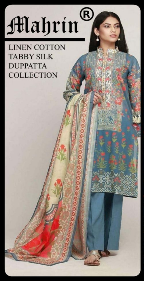 Mahrin Presents Maharani Sahiba Pakistani Replica Linen Cotton Suit 2C